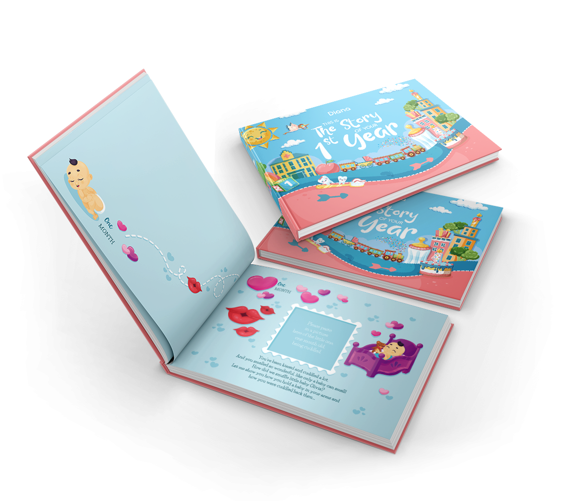 Our best-seller 1st birthday book comes with touching words, friendly baby illustrations and personal snapshots