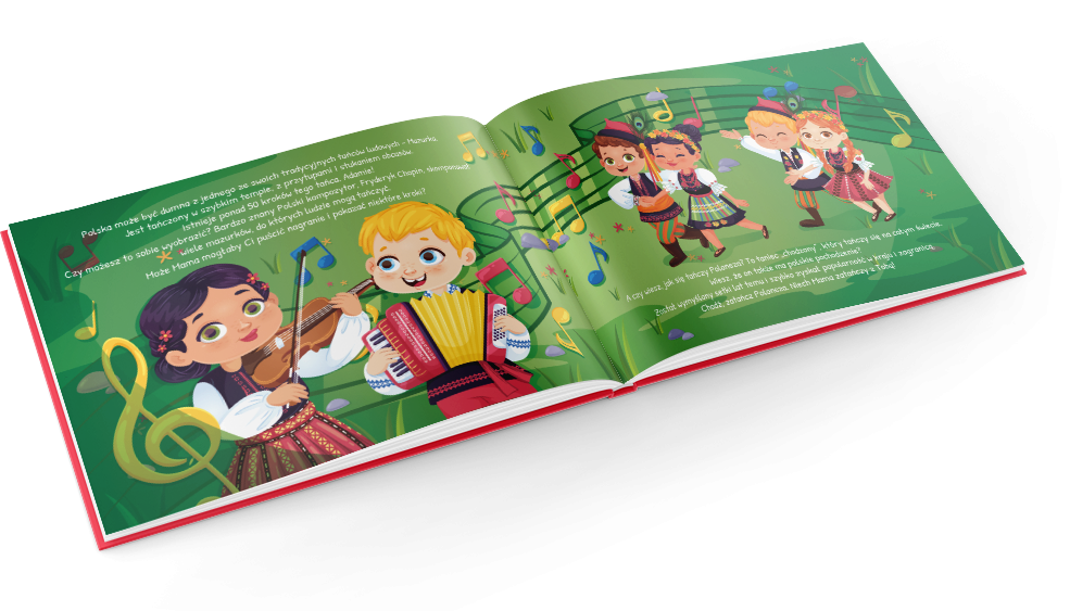 Polish traditional dances or traditional food: kids discover more in this book about Poland